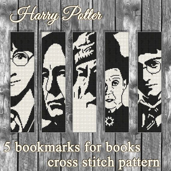 Buy 2 get 1 free. Harry Potter 5 bookmarks Cross stitch pattern.(#P ...