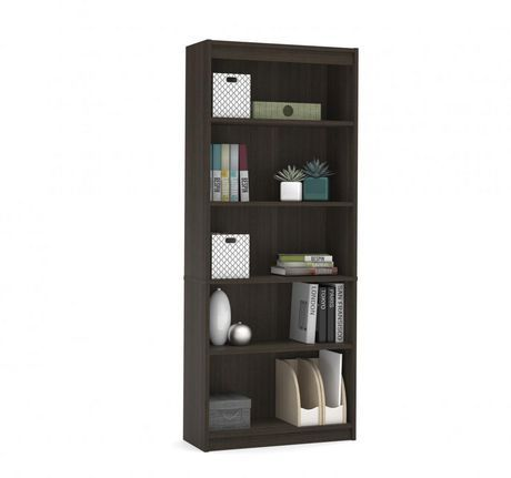 Bestar Standard Bookcase Dark Chocolate In 2020 5 Shelf Bookcase