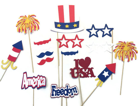 4th of July Photo Booth Props 17 Piece Photo by CraftingbyDenise