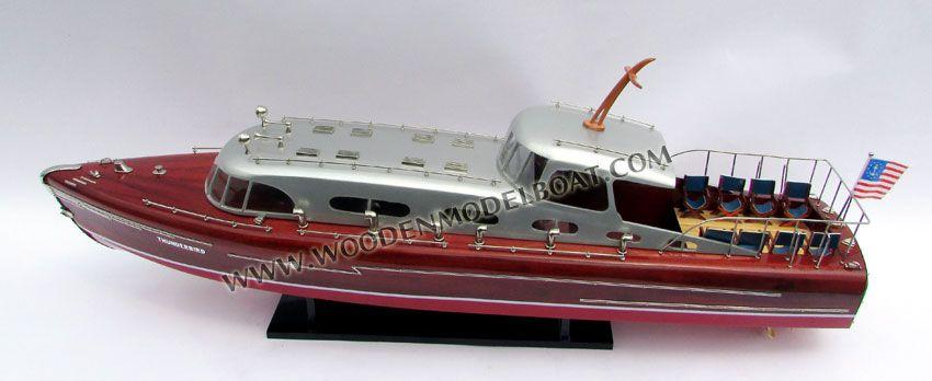 Wooden Boat Thunderbird Model Handcrafted Hacker Craft