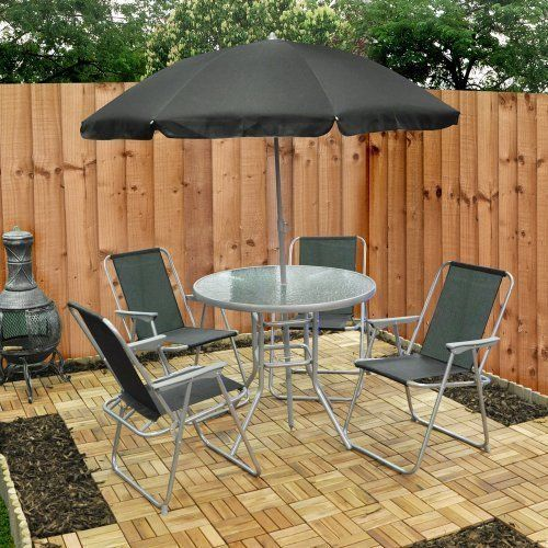 Outdoor Garden Furniture 6 Piece Patio Set 4 Chairs Round