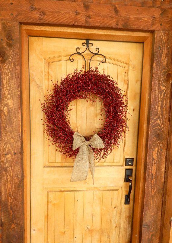 BURLAP RED BERRY Wreath Large Door Wreath Summer Wreath Fall Wreath Country