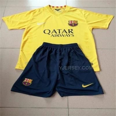 0d35b1f32933 Buy Barcelona Away Yellow Children s Whole Kit(Shirt+Short+Sock) from  Reliable Barcelona Away Yellow Children s Whole Kit(Shirt+Short+Sock)  suppliers.