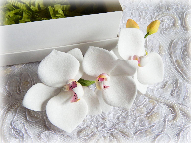 Orchid hair clip, Wedding hair comb, White hair clips, Bridal hair ...