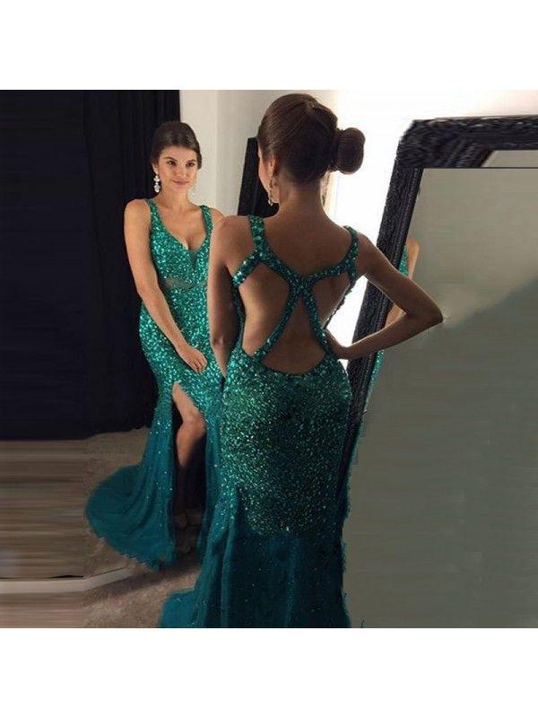 439b58c7d9 2017 Sparkle V Neck With Slit Mermaid Prom Dress Green