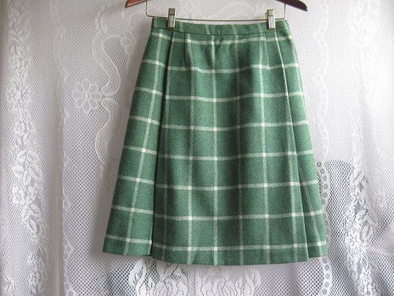 Vintage Green Plaid  Wool Skirt with 2 front by jonscreations