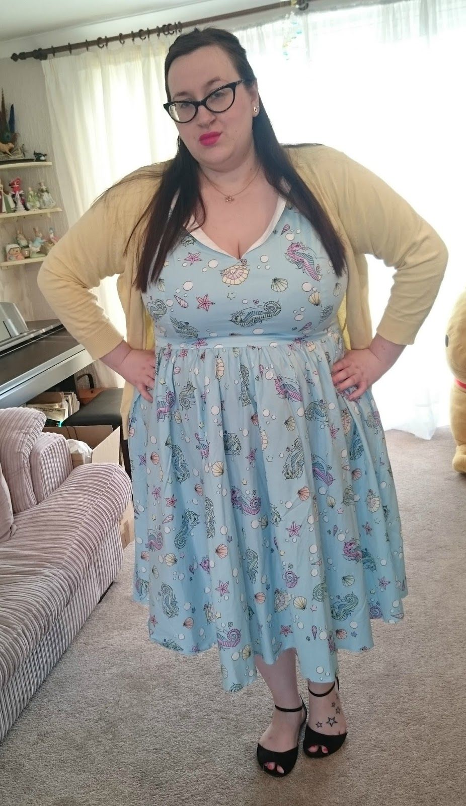 size 22 fat plus size girl wearing hell bunny sea sparkle dress ...