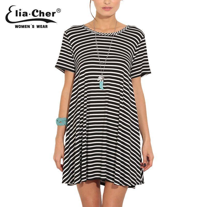 Women Stripe Loose Summer Dress Eliacher Plus Size Casual Women Clothing Sexy Open Women Dresses vestidos 8370