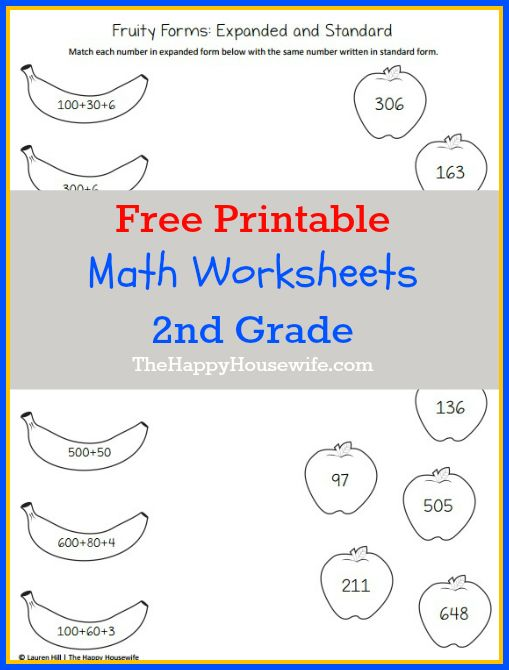 Math Worksheets For 2nd Grade Free Printables The Happy Housewife Home Schooling Math Worksheets 2nd Grade Math 2nd Grade Math Worksheets