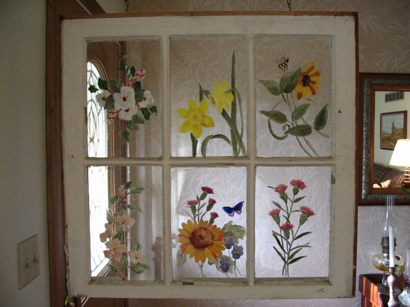 Painted Old Window Painted Window Panes Painting On Glass Windows Old Window Art