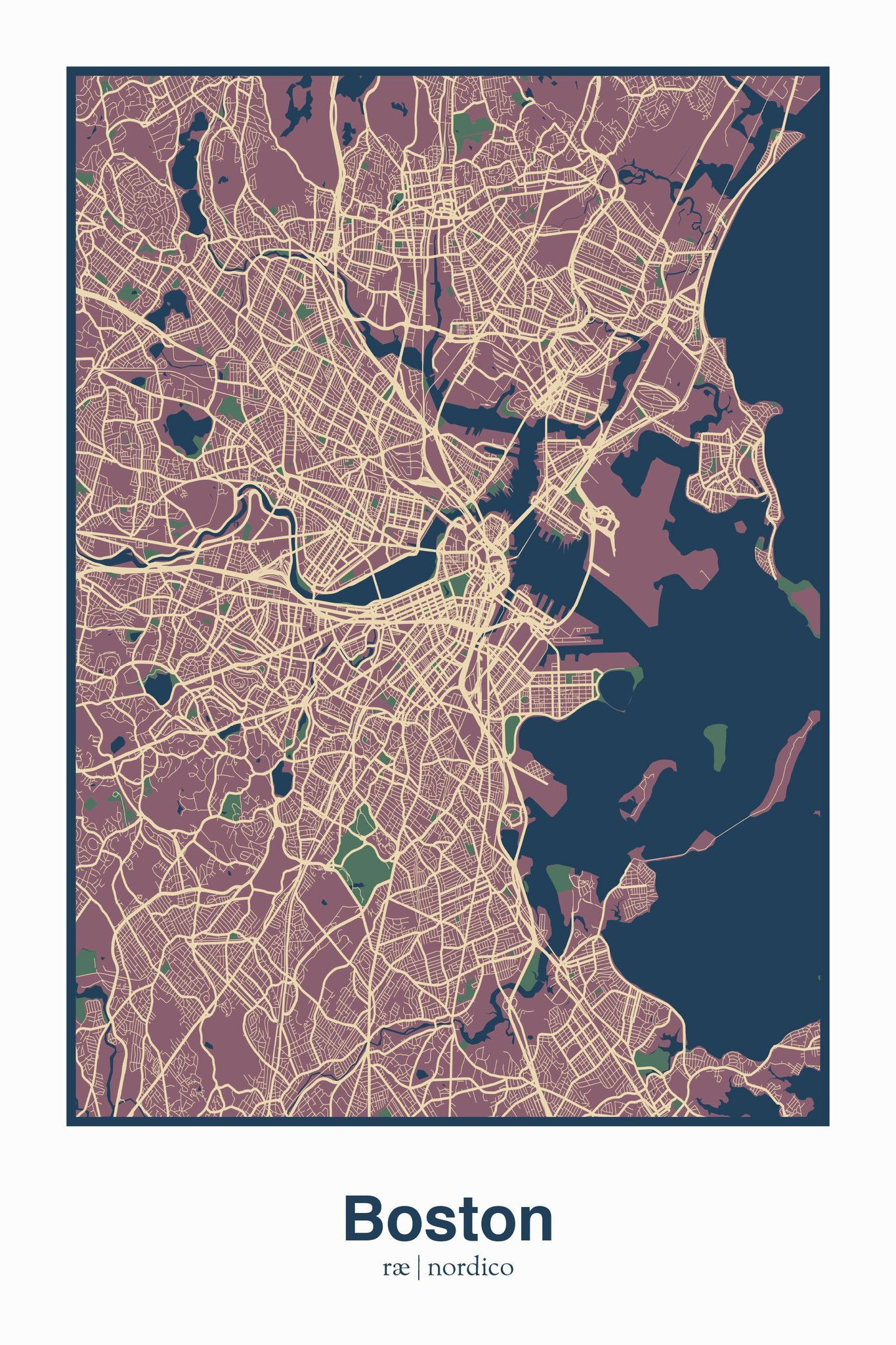 Boston USA Map Print planning Pinterest Boston usa