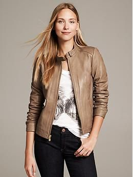Taupe Leather Moto Jacket - Jackets  @Monica Becker - track this down for me!!!