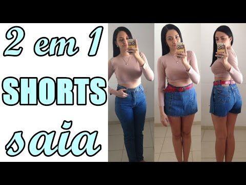 Como fazer shorts saia jeans - Transforme calça em shorts saia - Especial #23 - YouTube