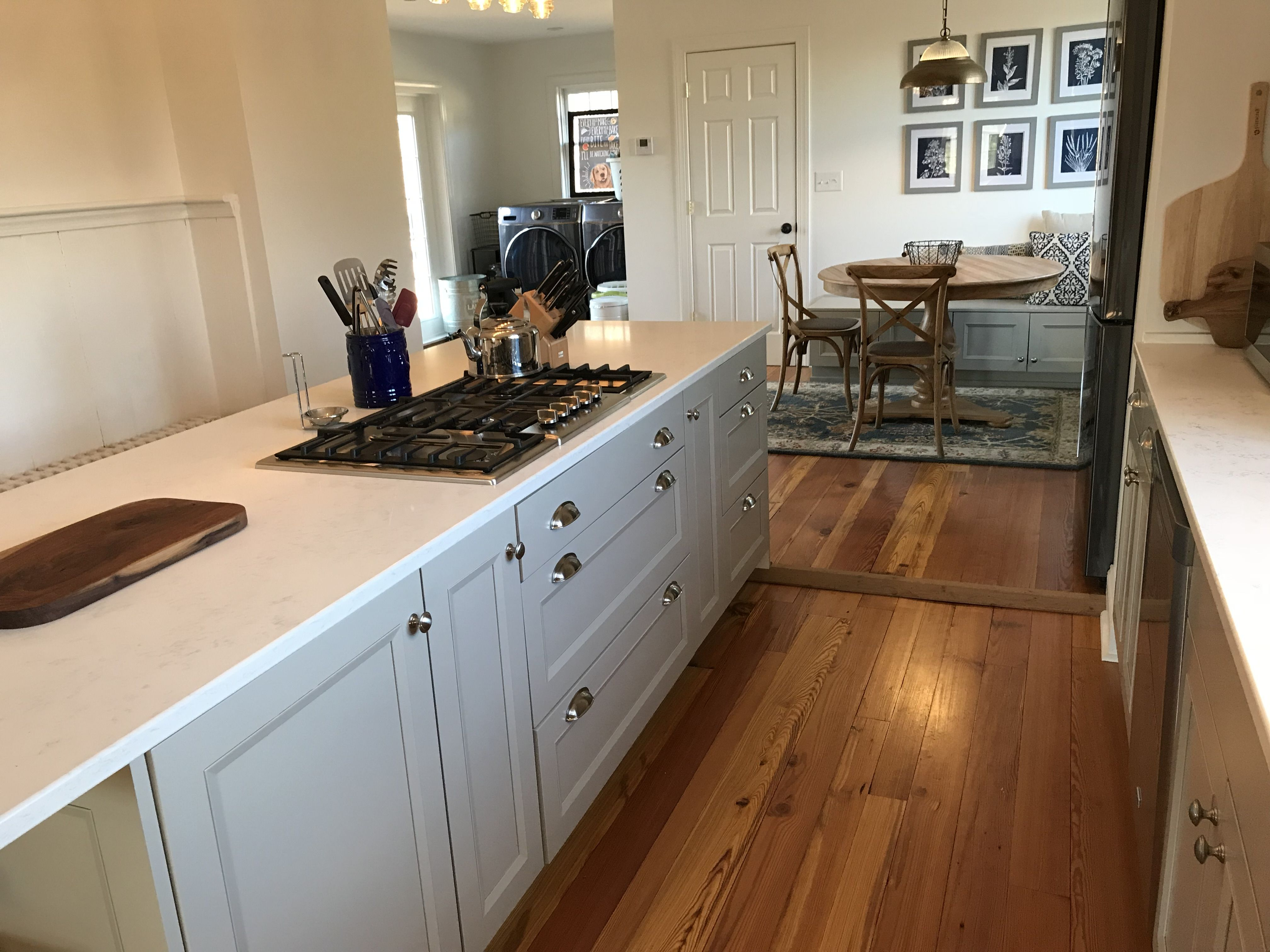 Brookhaven By Wood Mode Cabinets From Ideal Cabinets With Nova Door Style In Custom Color Antique Heart Pine Floors Wood Mode Heart Pine Flooring Pine Floors