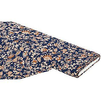 """Tissu crêpe marocain """"ramages"""", bleu/orange, pour blouses, robes, tabliers, etc., tissu fin et en même temps dense, peu froissable et facile d´entretien.Composition : 10 % viscosePoids : env. 120 g/m²Largeur : 140 cm"""