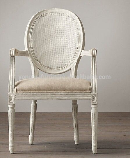 Antique French Style Wooden Louis Side Dining Chair White Linen Fabric Round Back Armchair And View High Quality