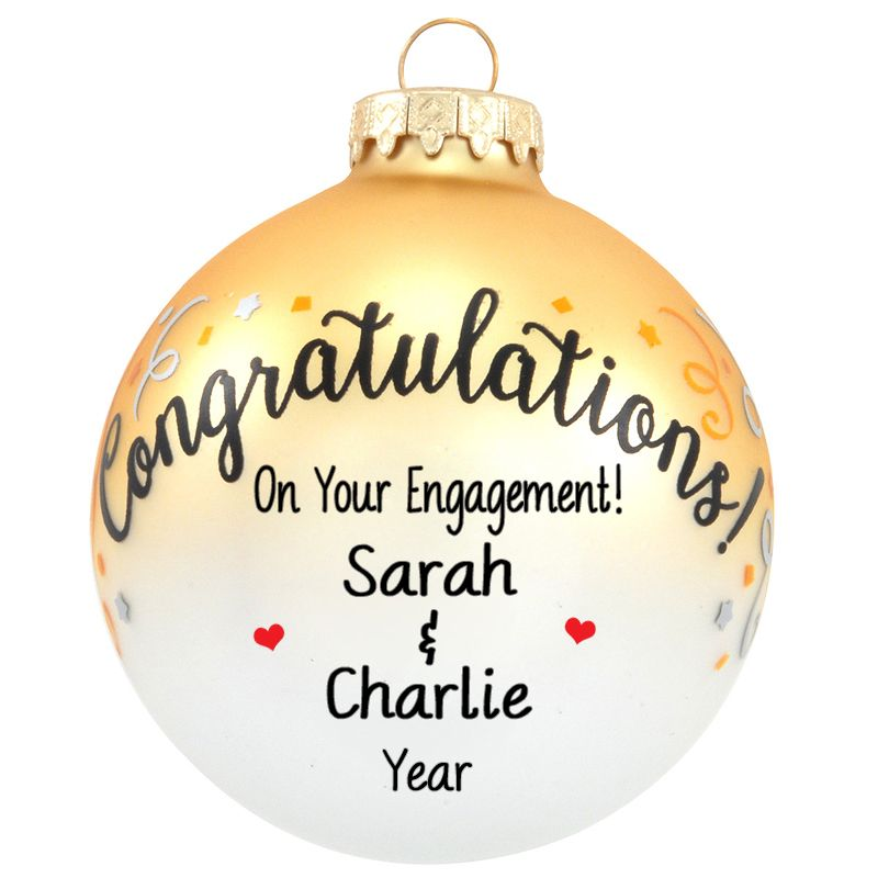 Personalized Congratulations On Your Engagement Confetti Glass Ball Ornament Glass Ball Ornaments Engagement Confetti Personalized Ornaments