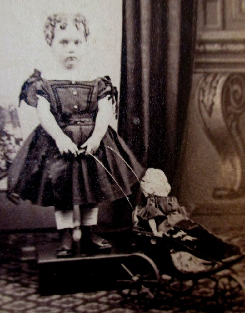 CDV PHOTO POUTY LITTLE VICTORIAN GIRL 1860 CIVIL WAR ERA LARGE DOLL IN CARRIAGE