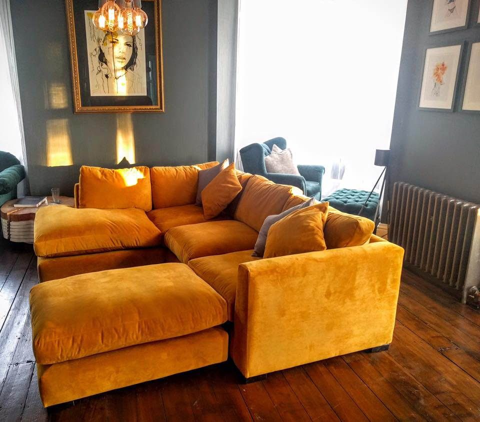 Nova Via Ecksofa Scotland Wadenhoe Corner Unit In Warwick Plush Turmeric This Sofa In A