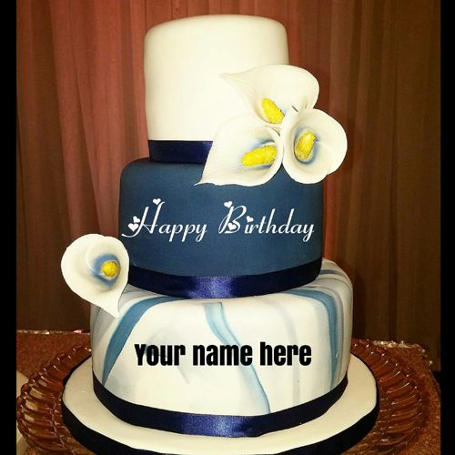 Three Layer Birthday Cake For Husband With Name On It Ashi