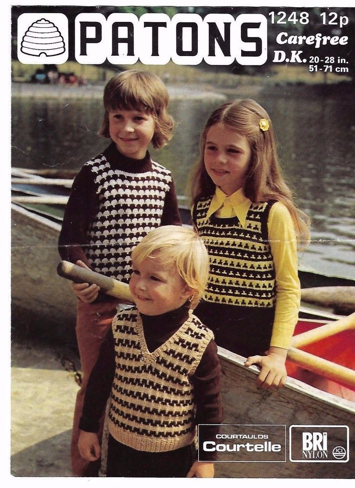 Patons 1248 1970\'s Child\'s Tank Tops Vintage Knitting Pattern 20\