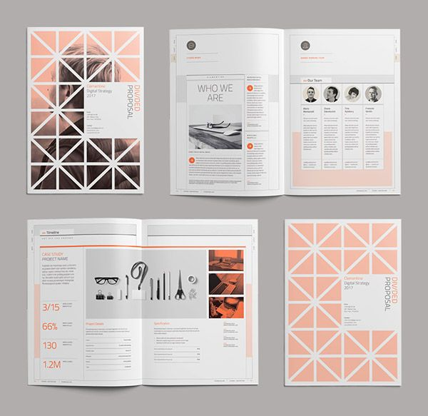 divided proposal brochure design template 2 design pinterest
