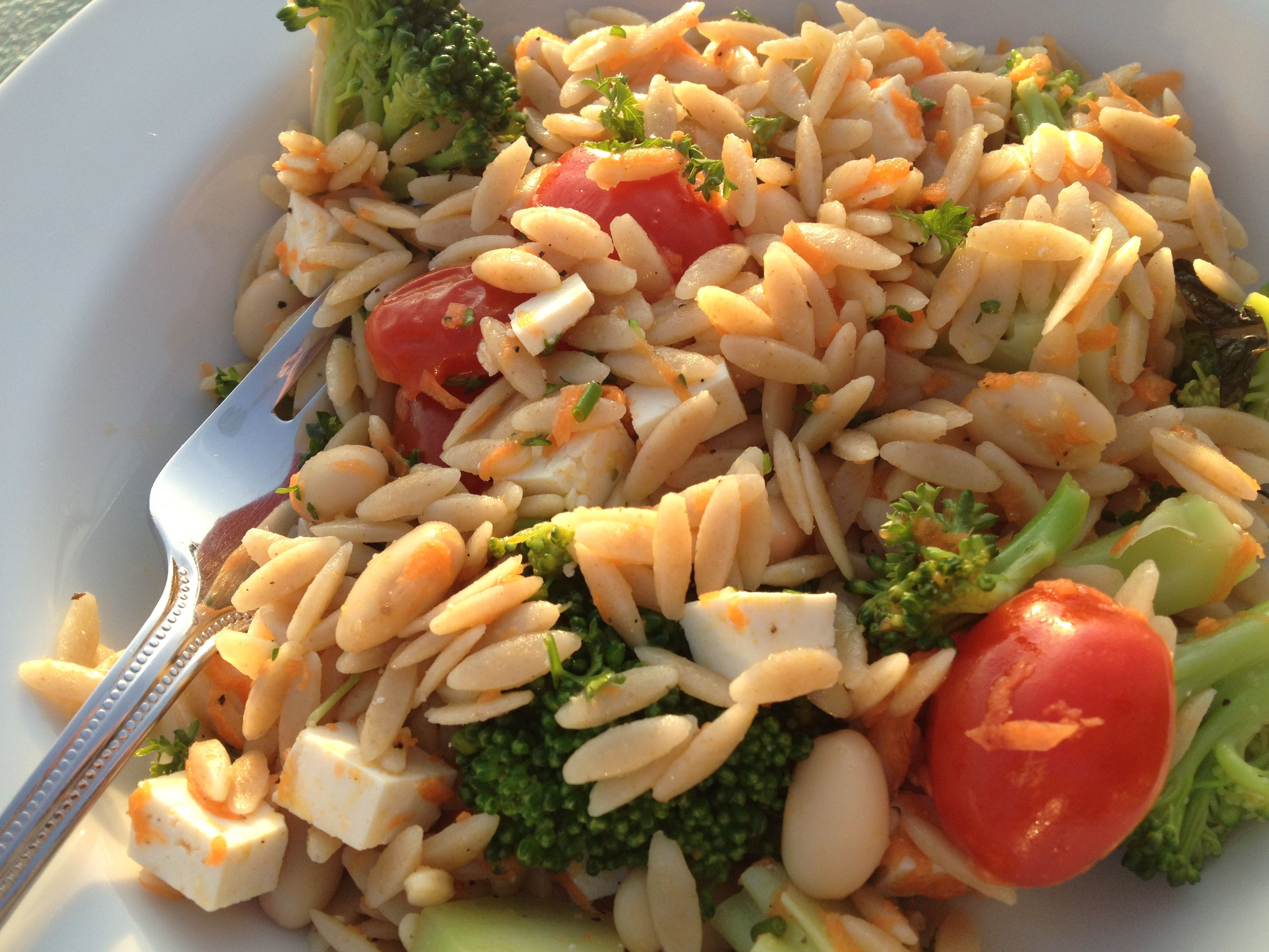 Mediterranean Inspired Orzo Salad #KidsCookMonday #MeatlessMonday