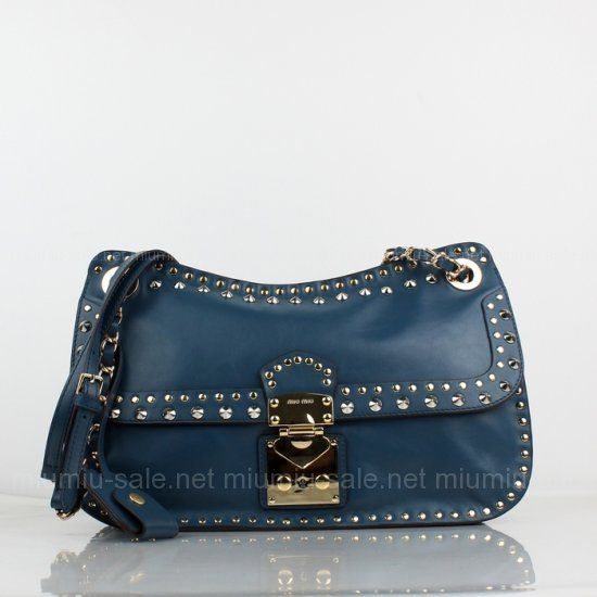 Miu Miu Royel Blue Nappa Leather Shoulder Bags      Size: H22cm x D10cm x W35cm     Palladium hardware     Metal lettering logo     Strap length: 85 cm     No Sales Tax     100% Price Guarantee Notes: The miu miu product is new and in beautiful condition inside and out without any flaws.