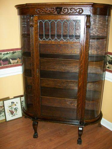 victorian curved oak china cabinet w lions head leaded ebay rh pinterest com