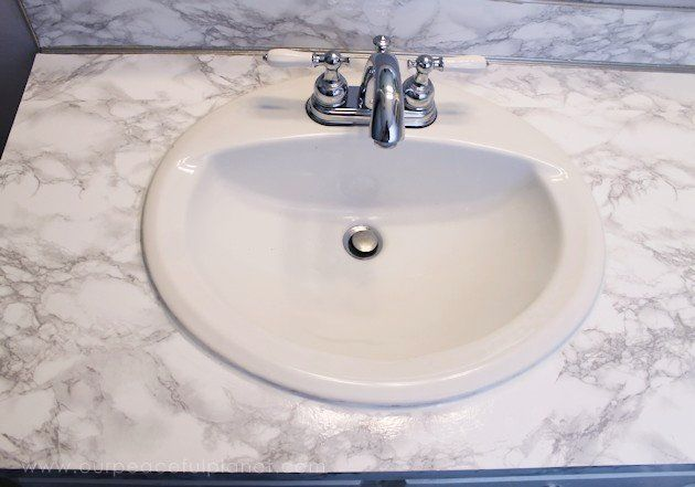 How To Do A Sturdy Stunning Granite Contact Paper Countertop Makeover Contact Paper Countertop Bathroom Counter Decor Countertop Makeover