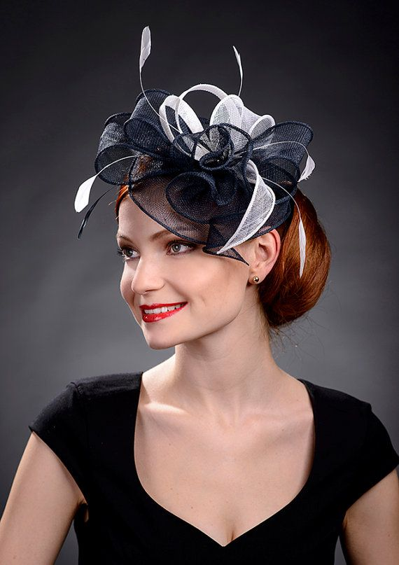 Navy blue and White fascinator hat for weddings by MargeIilane ... dbc4485dfab