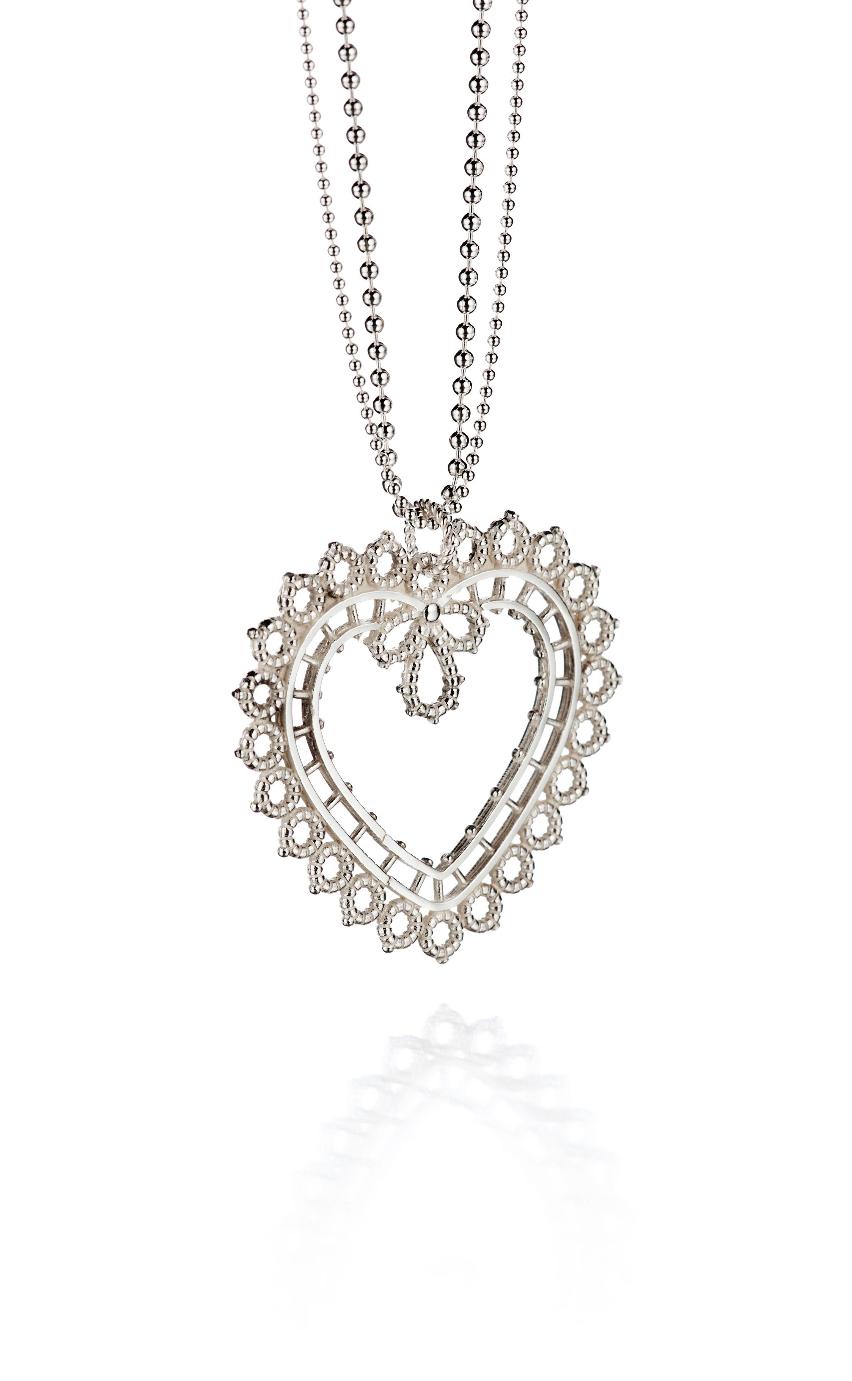 "Carina Blomqvist, ""Pitsisydän"" (Lace heart) necklace. | CarinaBlomqvist.fi #Finland #heart"