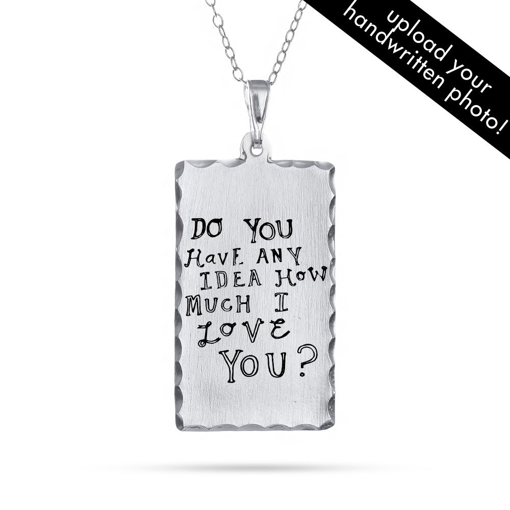 Add your own written message, in your handwriting to this Dog Tag Pendant! This personalized hand written dog tag is a great gift, have a child draw or write a message which will be placed on the dog tag.