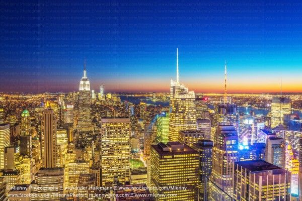 Aerial Manhattan New York City Night