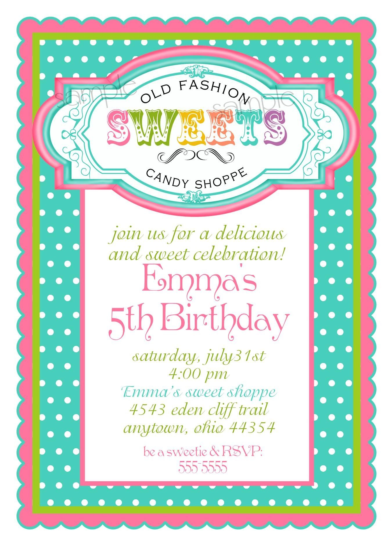 Personalized Invitations, Vintage Candy Parlor, Sweet Shoppe ...