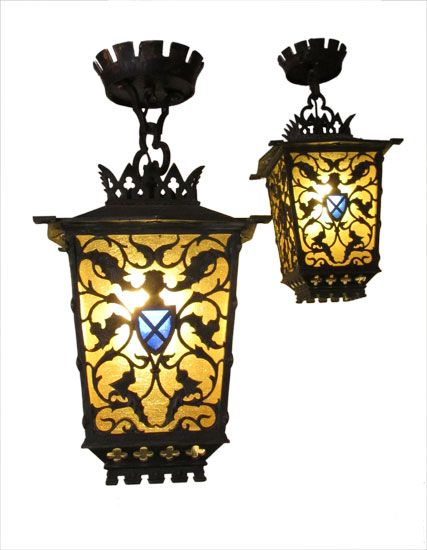 Two Stained Gl Tudor Style Lights Sold Separately