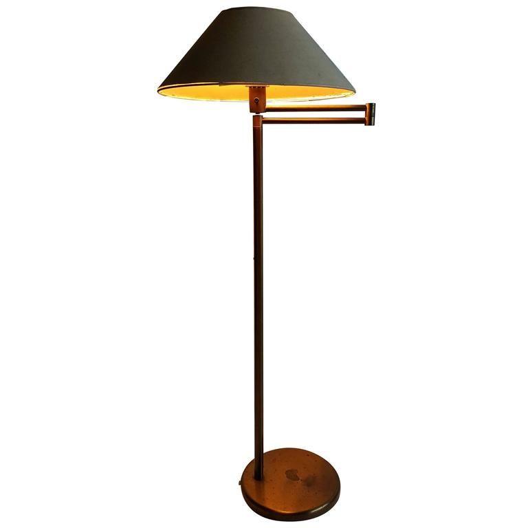 Early walter von nessen bronze swing arm floor lamp 1