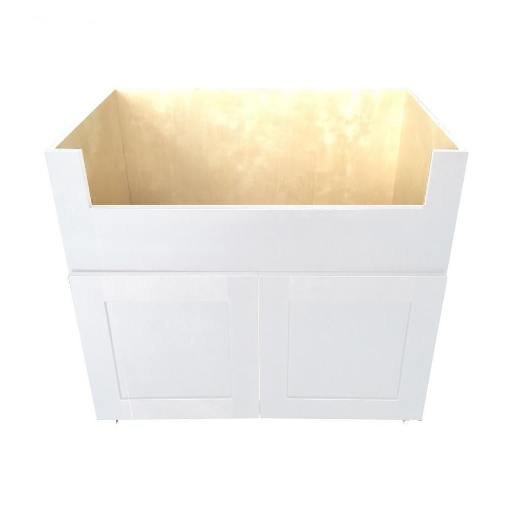 Plywell Ready To Assemble 36 In X 34 5 In X 24 In Shaker Farm Sink Base Cabinet With 2 Door In White Swxfsb36 Ni The Home Depot Base Cabinets Farm Sink Rustic Cabinets
