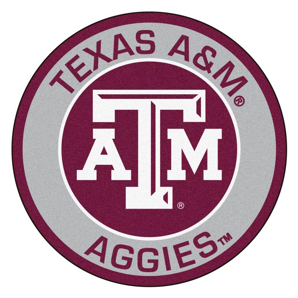 Fanmats Ncaa Texas A M University Gray 2 Ft X 2 Ft Round Area Rug In 2020 Texas A M Aggies Texas