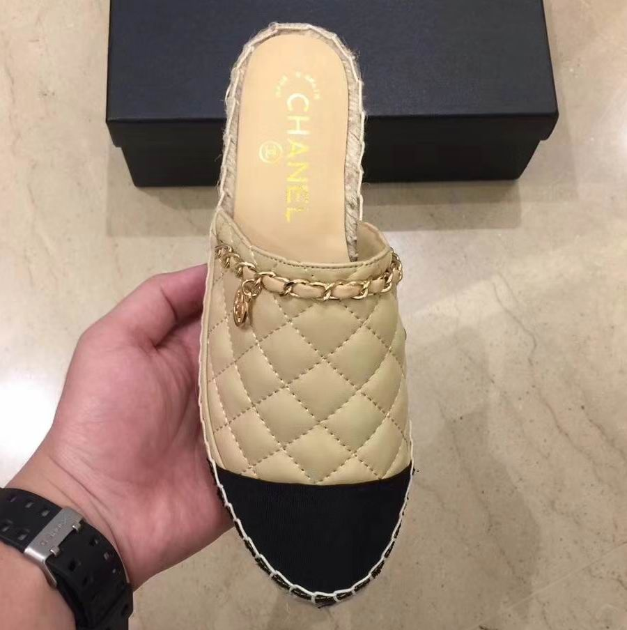 852aafb87a44da Chanel Espadrilles Mules Quilted Lambskin Cap-toe Chain Sandals Nude ...