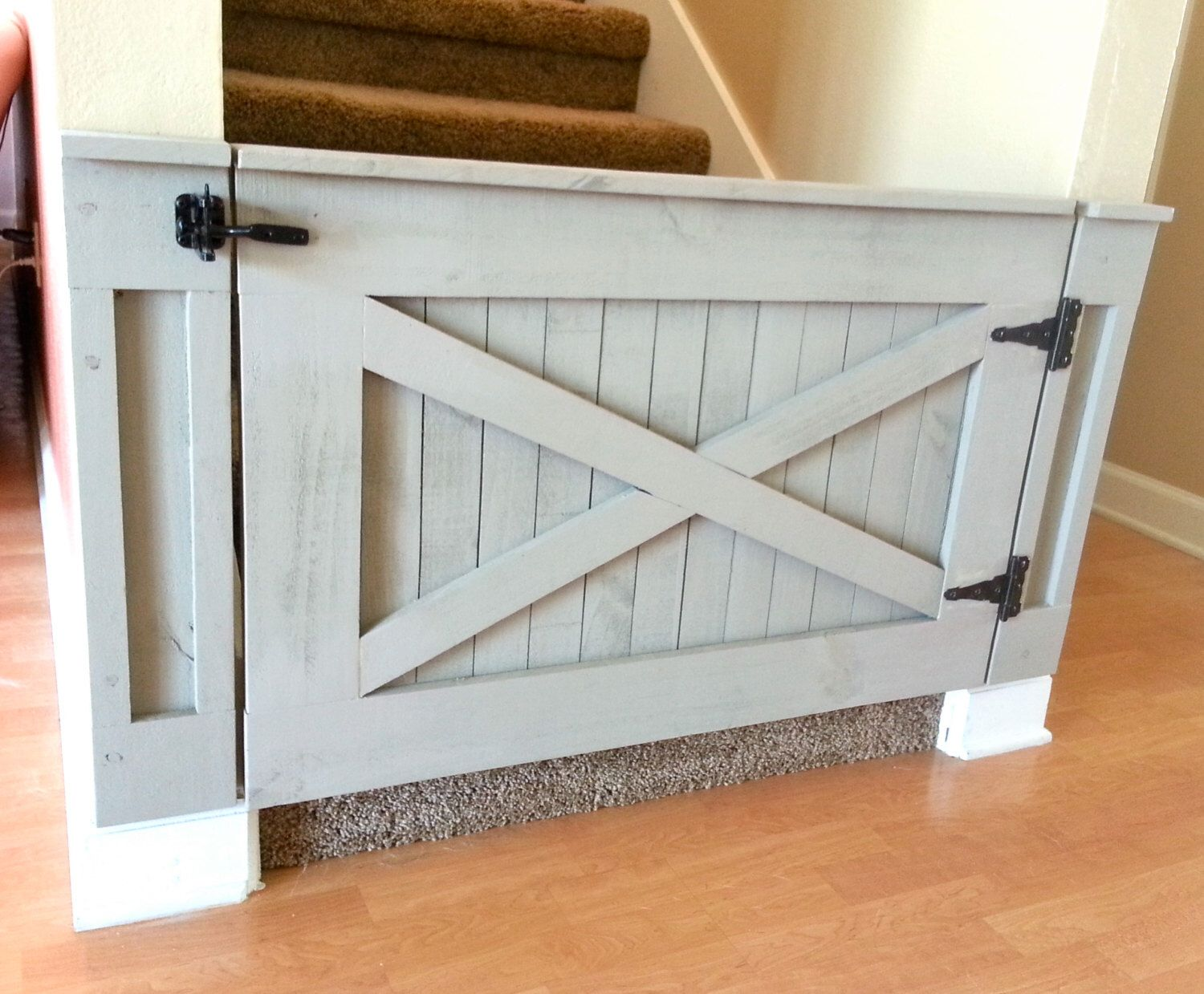 Rustic Dog Baby Gate Barn Door Style W Side Panels Etsy Baby Gates Home Diy Rustic House
