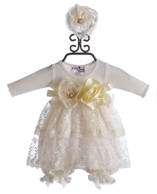 c32415c4349 Katie Rose Designer Ivory Bloomer Dress with Lace (Newborn