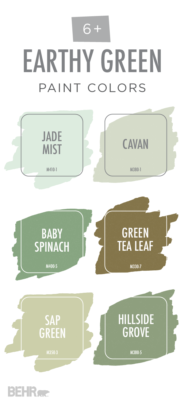 This earthy green color palette from behr is full of for Green neutral paint colors