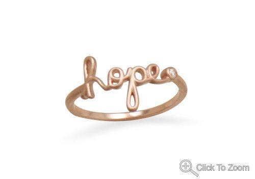 14 karat rose gold Hope script Ring