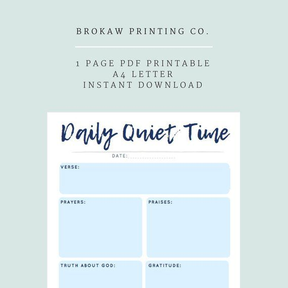 Daily Devotional Template Guide, Quiet Time Printable