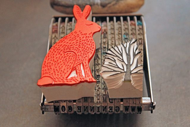 Red Hare by Geninne, via Flickr. I love the way she's made her own business cards with the letter stamp (which I have!)