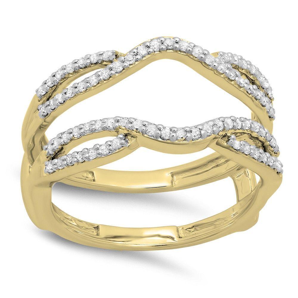 Elora 14k Gold 1/3ct TDW White Diamond Anniversary Wedding Band Split Shank Enhancer Guard Double Ring (I-J, I1-I2) (Size