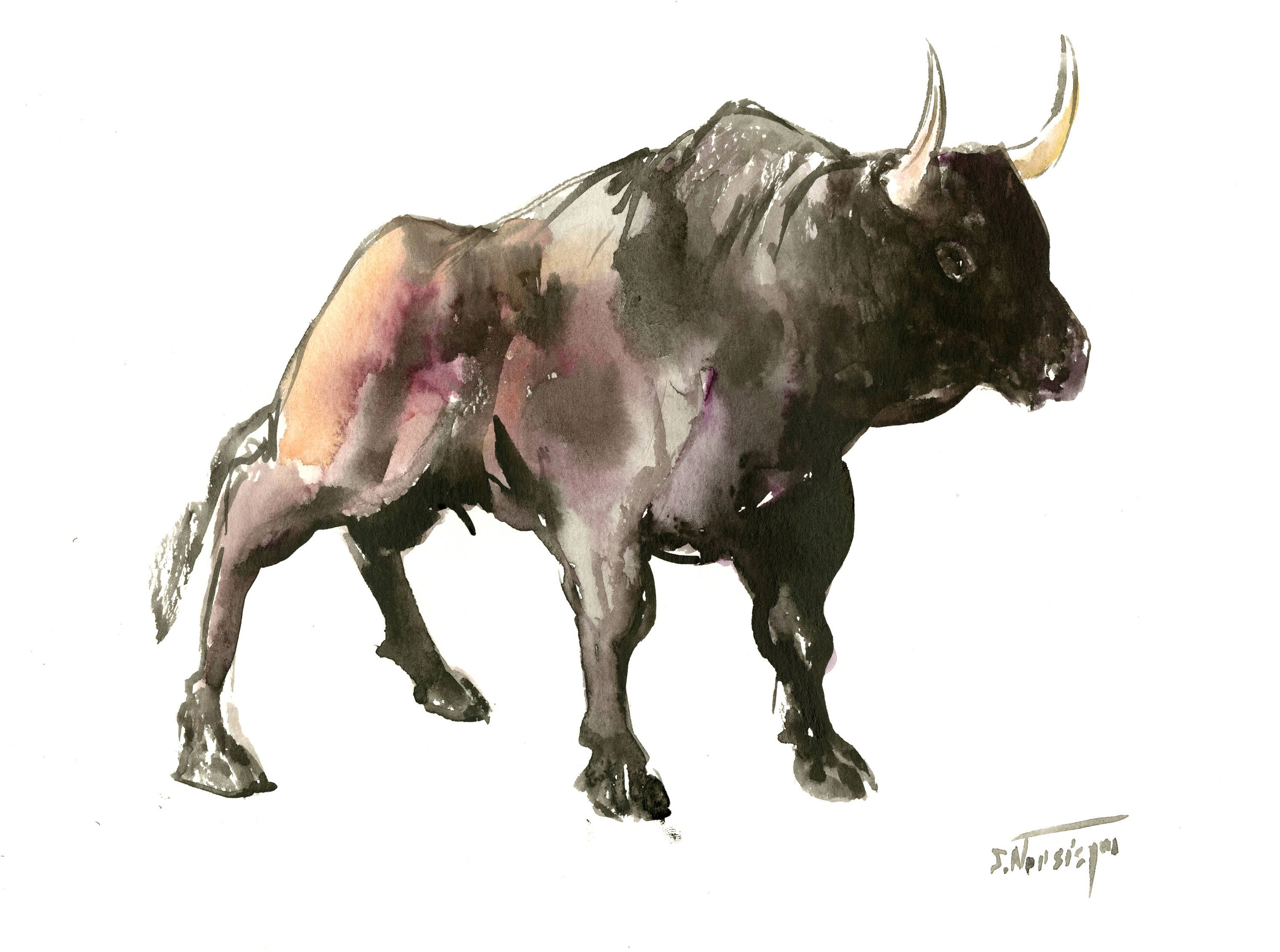 Bull Artwork Animal Art Bison Wild Animals Watercolor Painting