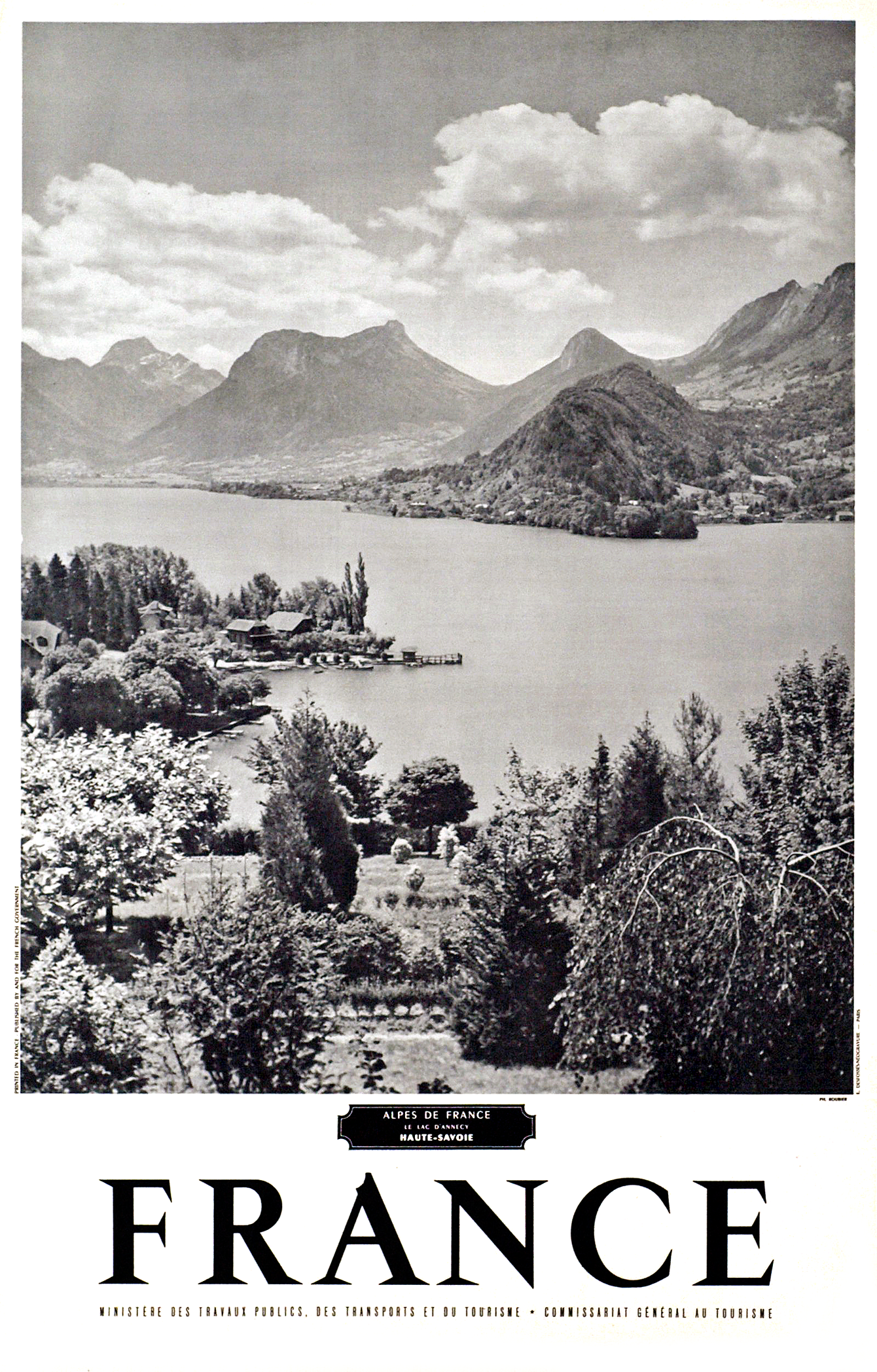 Le Lac D Annecy Viewed From Talloires Haute Savoie 1950s Photo Roubier Talloires Montmin Is A Commune In The Annecy Vintage Travel Posters Travel Posters