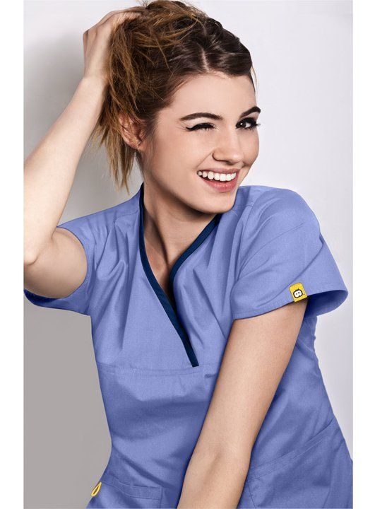 35fc2c6a59e The Charlie 6026 5 Pocket, Y-neck Wrap - WonderWink Available at Scrubs &